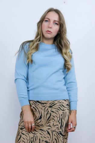 Vintage 70's Baby Blue Pure Wool Fine Knit Jumper - Tigers Eye | Boho & Grunge Vintage Clothing & T-shirts for Women