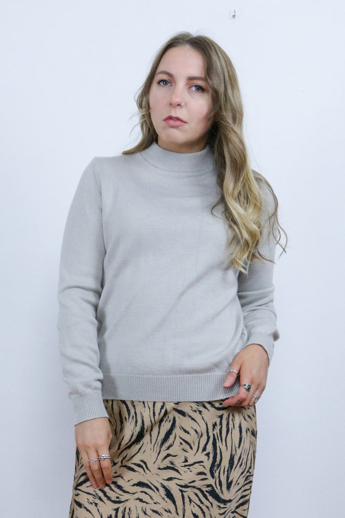 Vintage 90's Grey High Turtle Neck Grunge Jumper - Tigers Eye