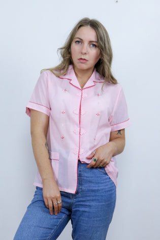 Vintage 70's Pink Embroidered Chinese Cotton Floral Shirt | Bohemian & Grunge Vintage | TIGERS EYE