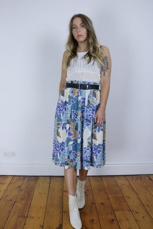 Vintage 80's Blue Floral Patterned Batik Midi Skirt - Tigers Eye | Boho & Grunge Vintage Clothing & T-shirts for Women