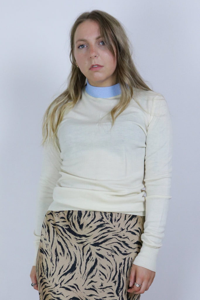 Vintage 70's Cream Fine Lightweight Knit Top - Tigers Eye | Boho & Grunge Vintage Clothing & T-shirts for Women