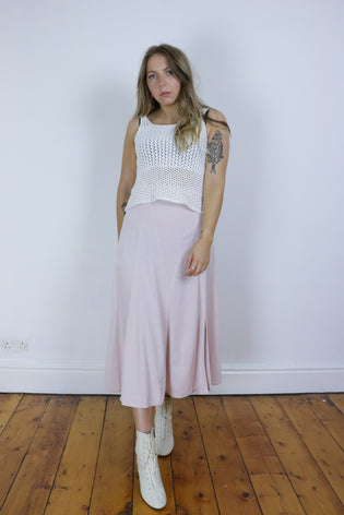 Vintage 70's Pastel Pink Split Front Maxi Skirt - Tigers Eye | Boho & Grunge Vintage Clothing & T-shirts for Women