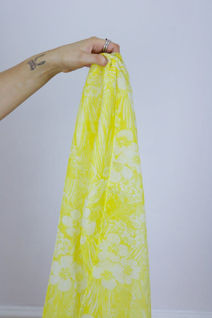 Vintage Yellow 70's Floral Semi Sheer Headscarf Scarf - Tigers Eye