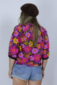 Vintage 70's Flower Power Bright Pink Floral Top - Tigers Eye | Boho & Grunge Vintage Clothing & T-shirts for Women