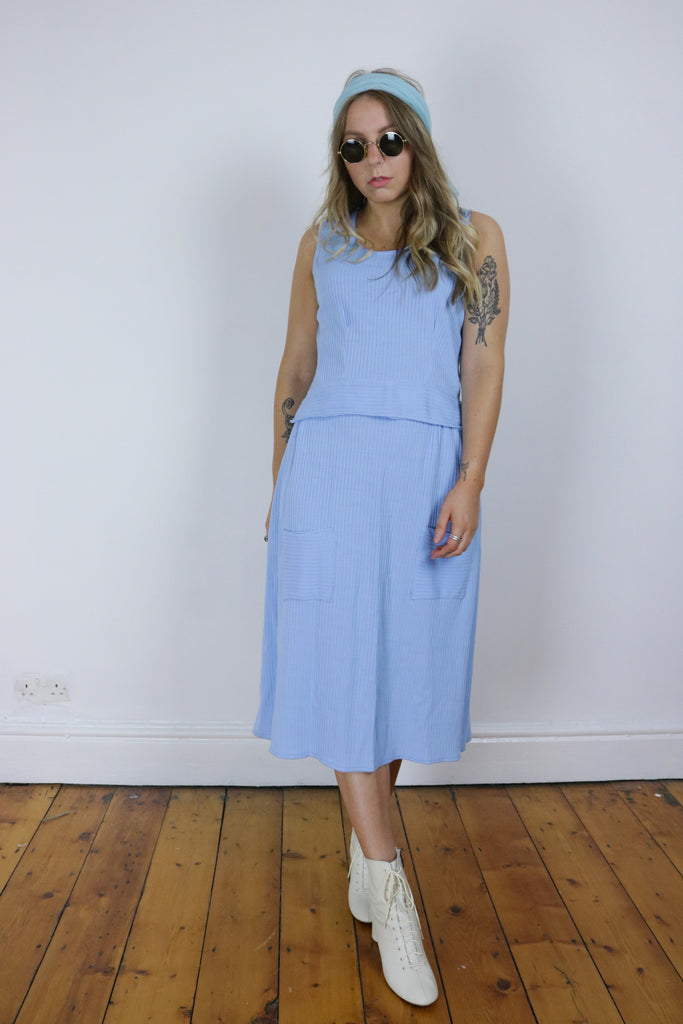 Vintage 70's Pastel Blue Ribbed Two Piece Co-Ord - Tigers Eye