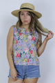 Vintage 80's Floral Loose Sleeveless Shell Top - Tigers Eye | Boho & Grunge Vintage Clothing & T-shirts for Women