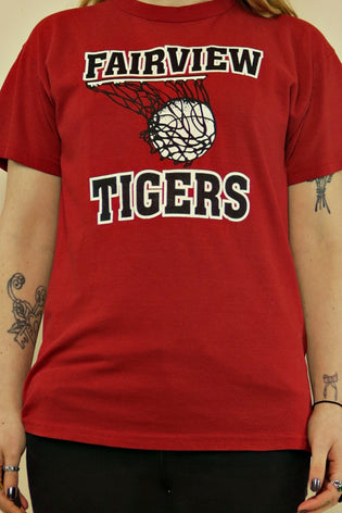 Vintage Red Fairview Tigers American Basketball T-Shirt - Tigers Eye | Boho & Grunge Vintage Clothing & T-shirts for Women