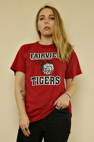 Vintage Red Fairview Tigers American Basketball T-Shirt | Bohemian & Grunge Vintage | TIGERS EYE