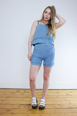 Vintage 90's Denim Fringed Vest & Shorts Two Piece | Bohemian & Grunge Vintage | TIGERS EYE