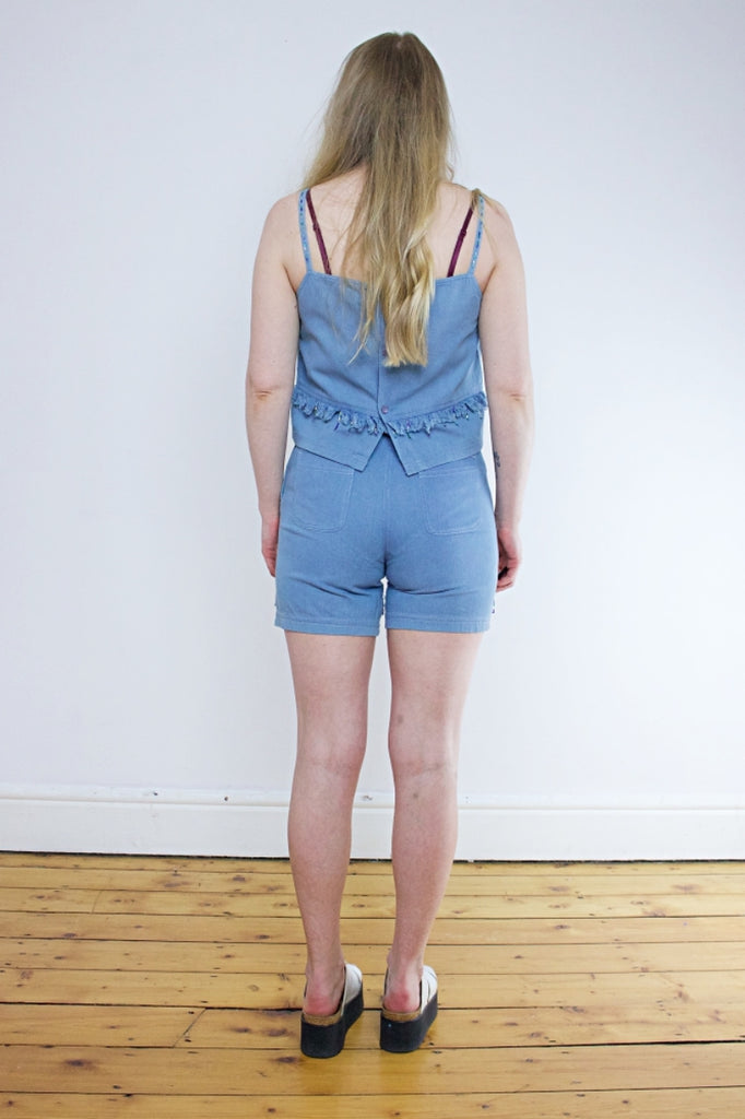 Vintage 90's Denim Fringed Vest & Shorts Two Piece - Tigers Eye | Boho & Grunge Vintage Clothing & T-shirts for Women