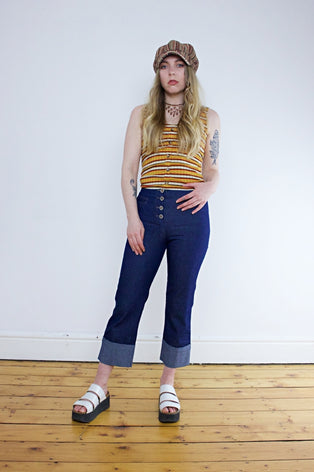 Vintage 90's Denim Cropped Flared Jeans - Tigers Eye | Boho & Grunge Vintage Clothing & T-shirts for Women