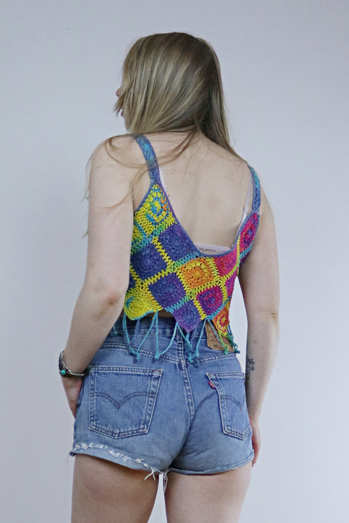 Vintage 90's Rainbow Crochet Fringed Festival Crop Top - Tigers Eye | Boho & Grunge Vintage Clothing & T-shirts for Women