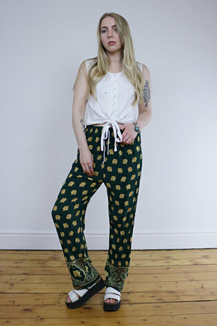 Vintage 90's Green & Gold Elephant Hippie Loose Trousers - Tigers Eye | Boho & Grunge Vintage Clothing & T-shirts for Women