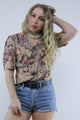 Vintage 80's Red Floral Wide Collar Puff Sleeve Blouse Shirt - Tigers Eye | Boho & Grunge Vintage Clothing & T-shirts for Women