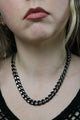 Vintage 90's Oxidised Silver Coloured Chunky Chain Necklace - Tigers Eye | Boho & Grunge Vintage Clothing & T-shirts for Women