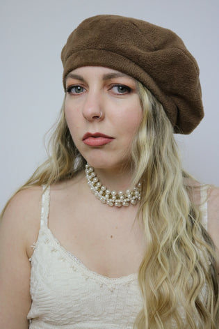 Vintage 80's Faux Pearl Gold Choker Boujie Necklace - Tigers Eye | Boho & Grunge Vintage Clothing & T-shirts for Women
