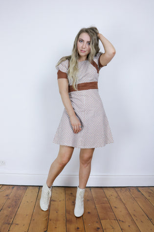 Vintage 70's Brown Patterned Puff Sleeve Belted Dress - Tigers Eye | Boho & Grunge Vintage Clothing & T-shirts for Women