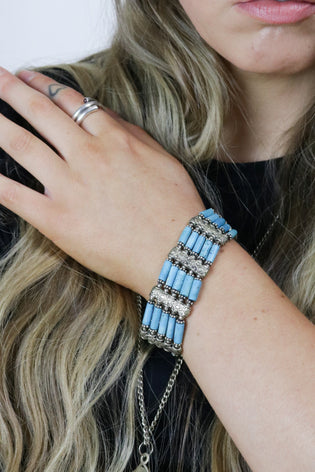 Vintage 70's Silver & Turquoise Bohemian Bracelet - Tigers Eye | Boho & Grunge Vintage Clothing & T-shirts for Women