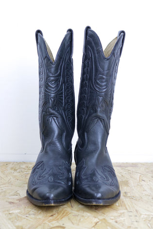 Vintage Ravel Black Western Embroidered Calf Cowboy Boots - Tigers Eye