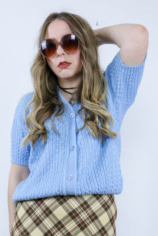 Vintage Pastel Blue 70's Short Sleeve Knitted Cardigan Top - Tigers Eye | Boho & Grunge Vintage Clothing & T-shirts for Women