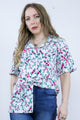 Vintage 80's Floral White Rose Print Short Sleeve Shirt - Tigers Eye | Boho & Grunge Vintage Clothing & T-shirts for Women