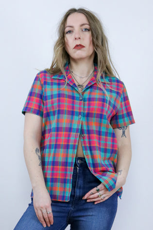 Vintage 90's Rainbow Gingham Check Short Sleeve Shirt | Bohemian & Grunge Vintage | TIGERS EYE