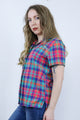 Vintage 90's Rainbow Gingham Check Short Sleeve Shirt - Tigers Eye