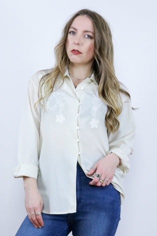 Vintage 90's Embroidered Cream Gothic Grunge Boho Shirt - Tigers Eye