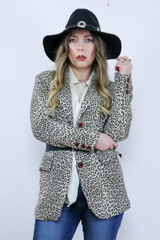 Vintage 90's Leopard Print Fitted Blazer Jacket - Tigers Eye