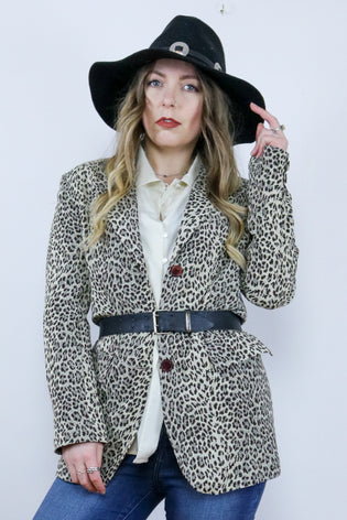 Vintage 90's Leopard Print Fitted Blazer Jacket - Tigers Eye | Boho & Grunge Vintage Clothing & T-shirts for Women