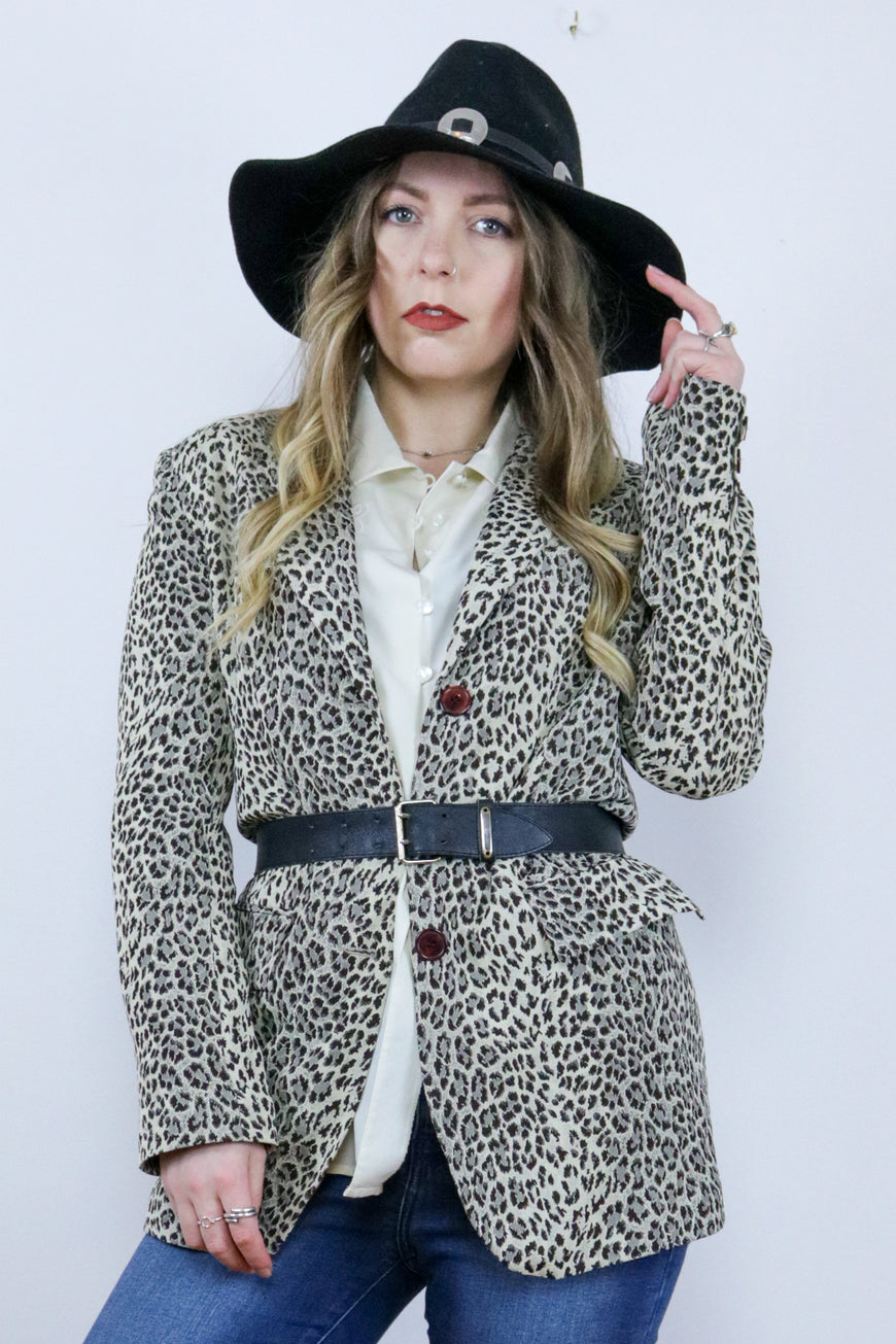 Vintage 90's Leopard Print Fitted Blazer Jacket - Tigers Eye | Boho & Grunge Vintage Clothing & T-shirts for Women (1)