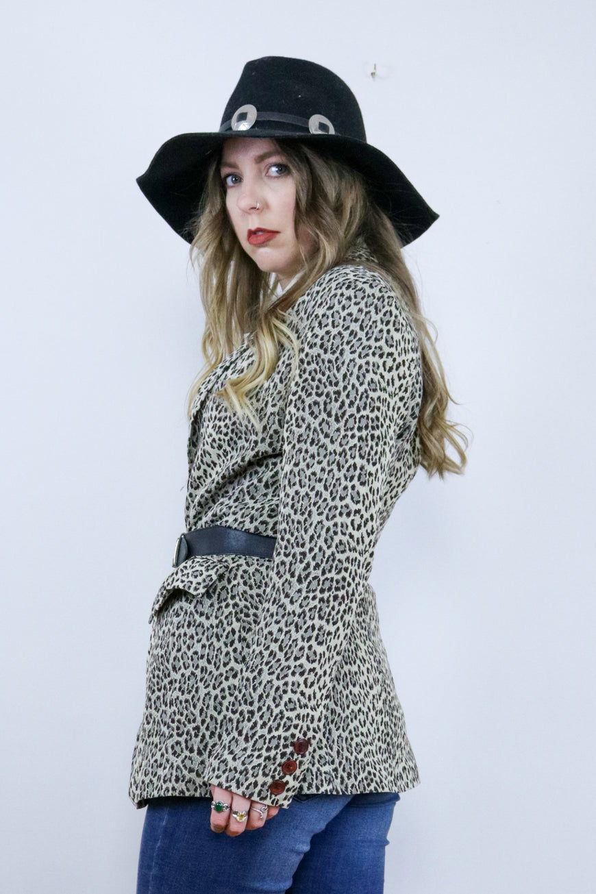 Vintage 90's Leopard Print Fitted Blazer Jacket - Tigers Eye | Boho & Grunge Vintage Clothing & T-shirts for Women (3)