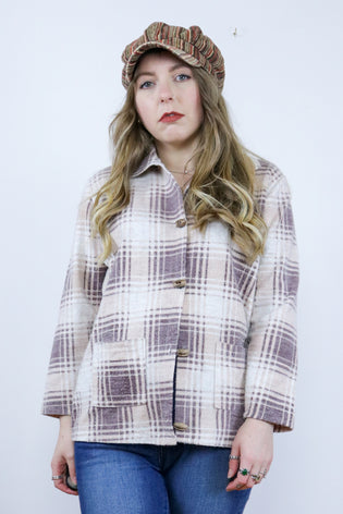 Vintage 90's Grunge Plaid Tartan Brown Shacket Shirt Jacket - Tigers Eye | Boho & Grunge Vintage Clothing & T-shirts for Women