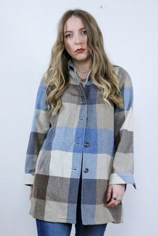 Vintage 90's Grunge Blue & Grey Tartan Check Shacket Shirt Jacket - Tigers Eye