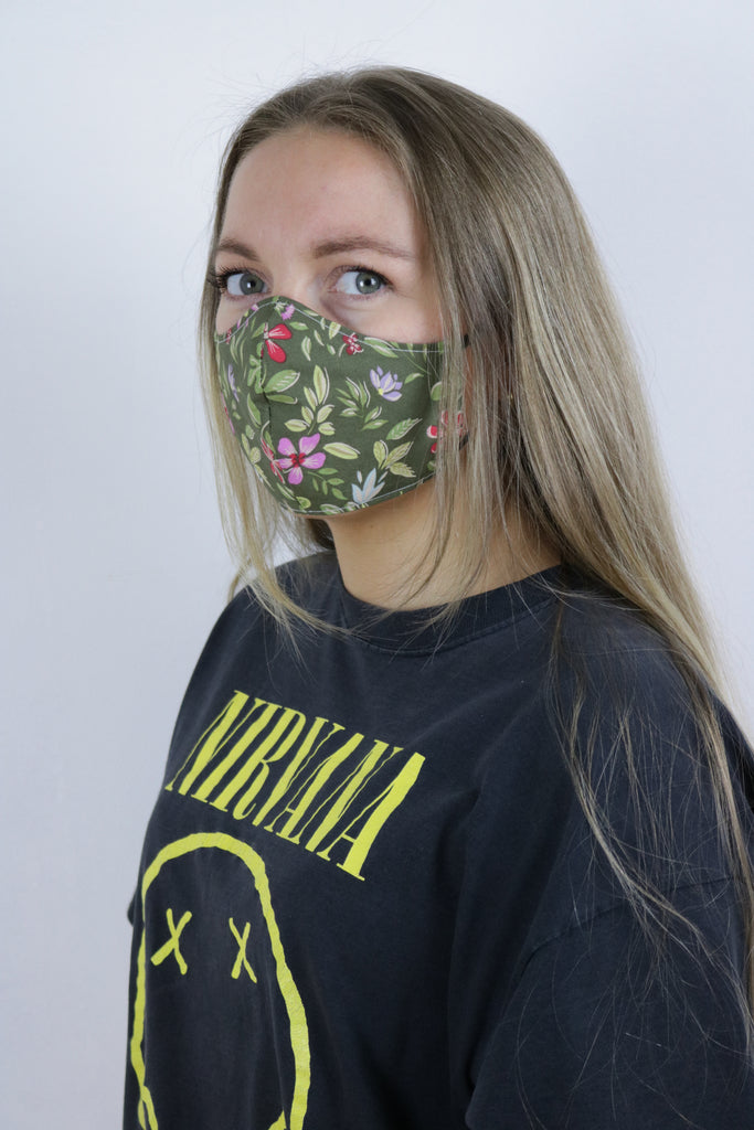 Tigers Eye Sustainable Re-Usable Cotton Face Mask - Bohemian Green - Tigers Eye | Boho & Grunge Vintage Clothing & T-shirts for Women