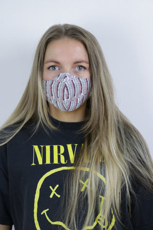 Tigers Eye Sustainable Re-Usable Cotton Face Mask - Daisy Striped - Tigers Eye | Boho & Grunge Vintage Clothing & T-shirts for Women