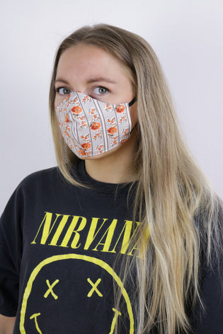 Tigers Eye Sustainable Re-Usable Cotton Face Mask - 70's Floral Print - Tigers Eye | Boho & Grunge Vintage Clothing & T-shirts for Women