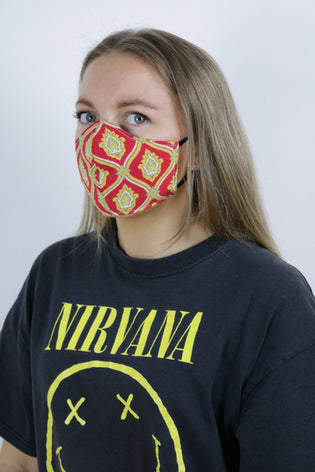 Tigers Eye Sustainable Re-Usable Cotton Face Mask - Baroque Red - Tigers Eye | Boho & Grunge Vintage Clothing & T-shirts for Women
