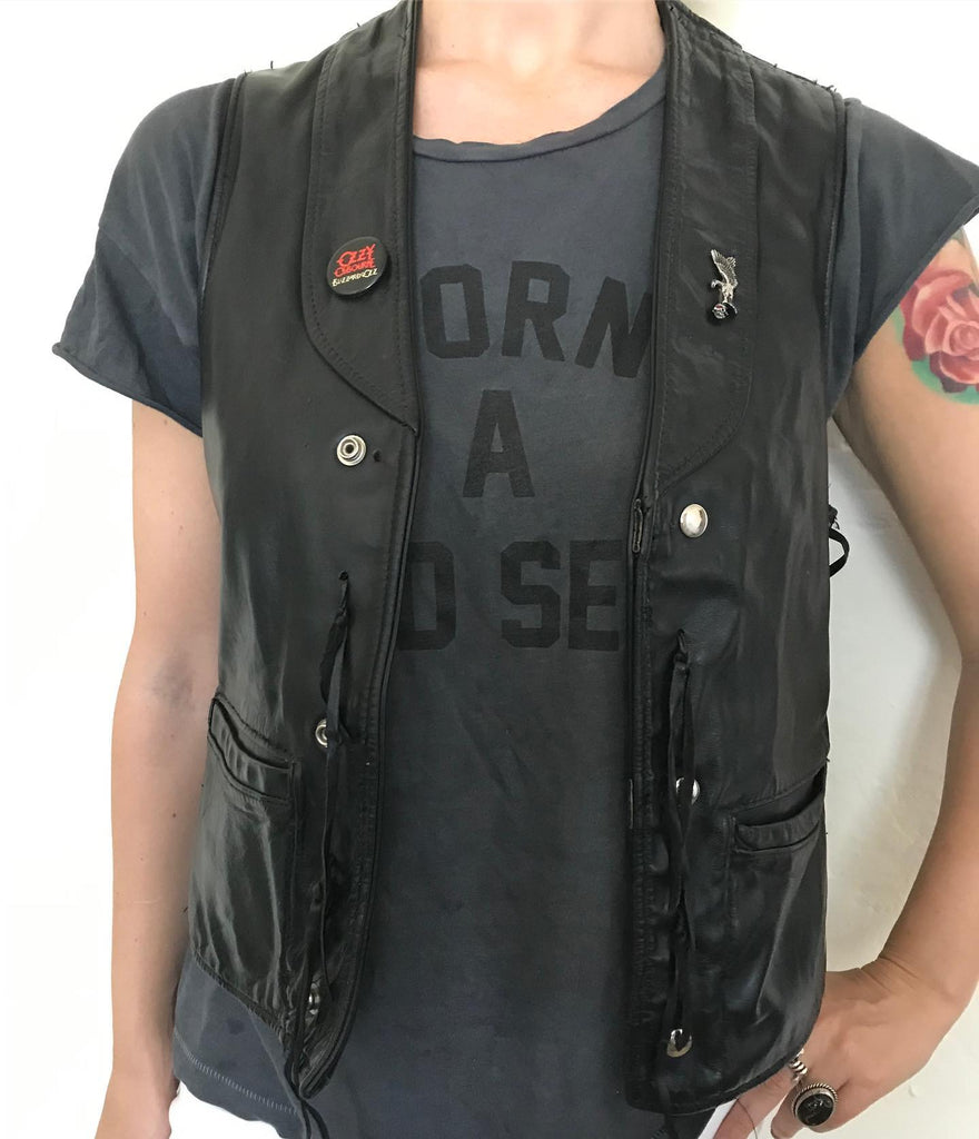 Lace Up Vintage Leather Vest With Vulture Pin