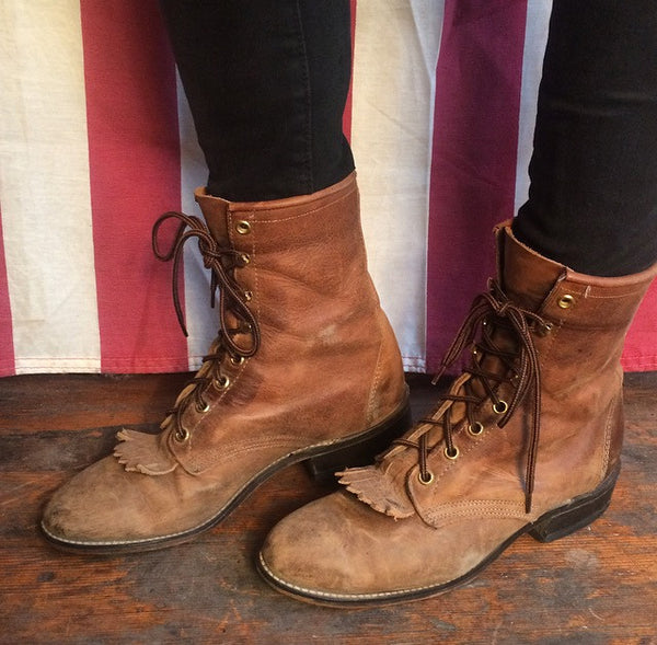 Brown Leather Fringe Ropers