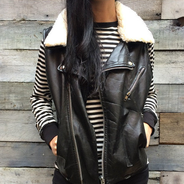 Leather Moto Vest w/ Shearling Collar V