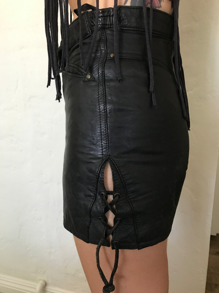 Leather Shorts With Side Lace Detail