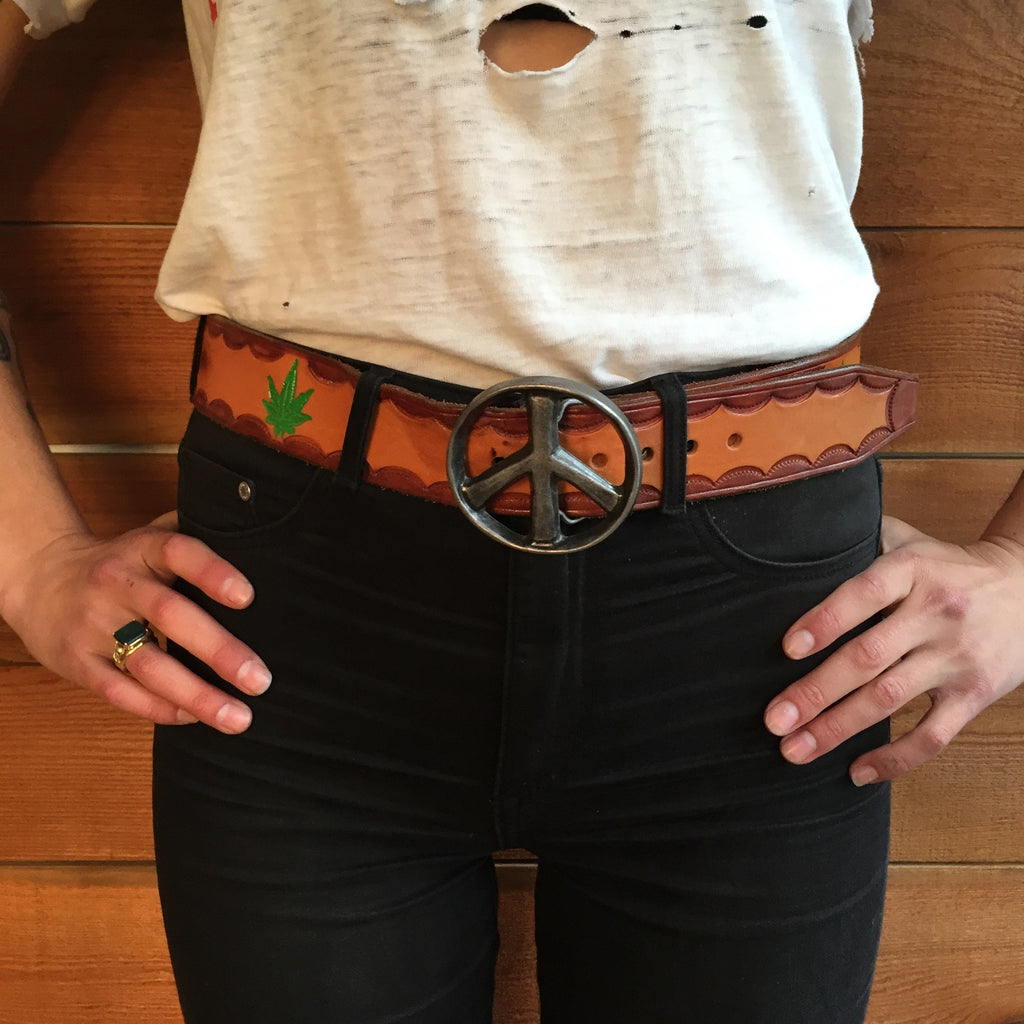 Amazing 60's Peace Sign & Pot Leaf Belt