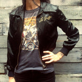 Satin Collared Bomber Jacket With Tiger Embroidery