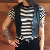 Lace-Up Cropped Leather Vest