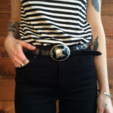 Sick Leather Concho Belt & Eagle Head Buckle