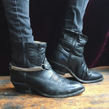 Ankle Cut Black Cowboy Boots With Chain