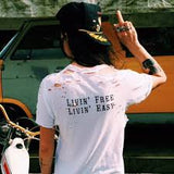Livin' Free Living' Easy Tee White