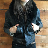 Black Moto Jacket w/ Fur Collar