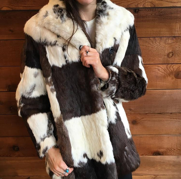 Patchwork Fur Coat